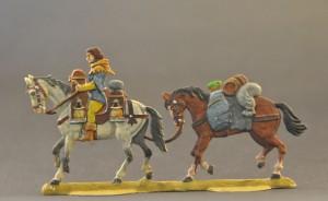 Mundschenk m. den Mundvorräten des Ritters auf dem Spezial-Packsattel sowie Packpferd